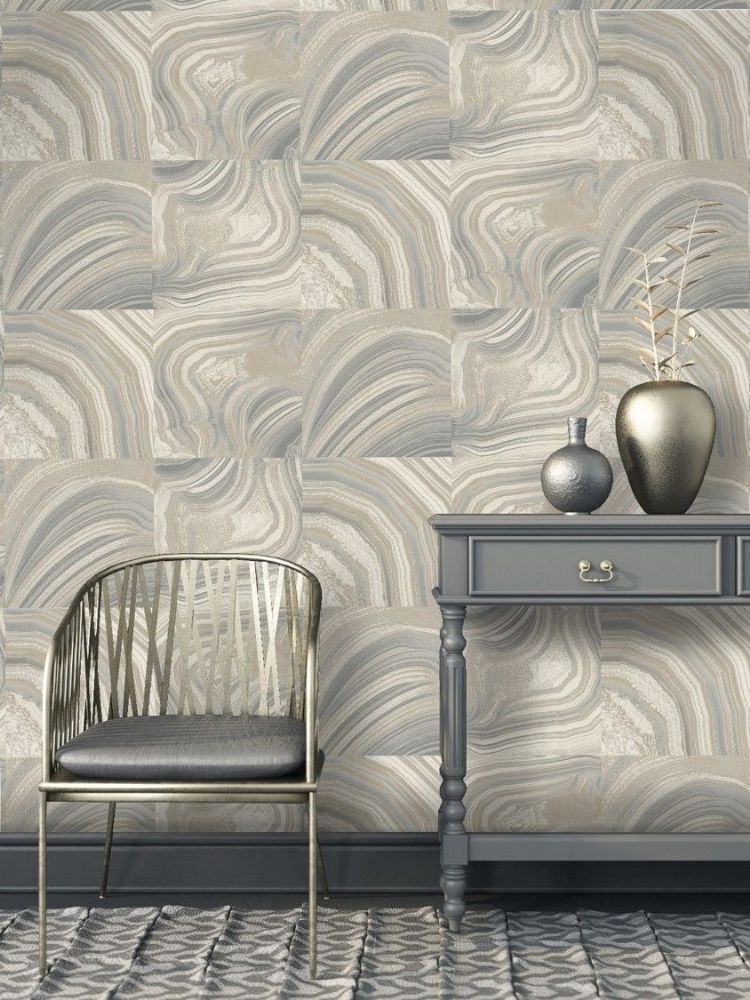 Crown Emporium Savoy Geometric Grey M1465 Wallpaper